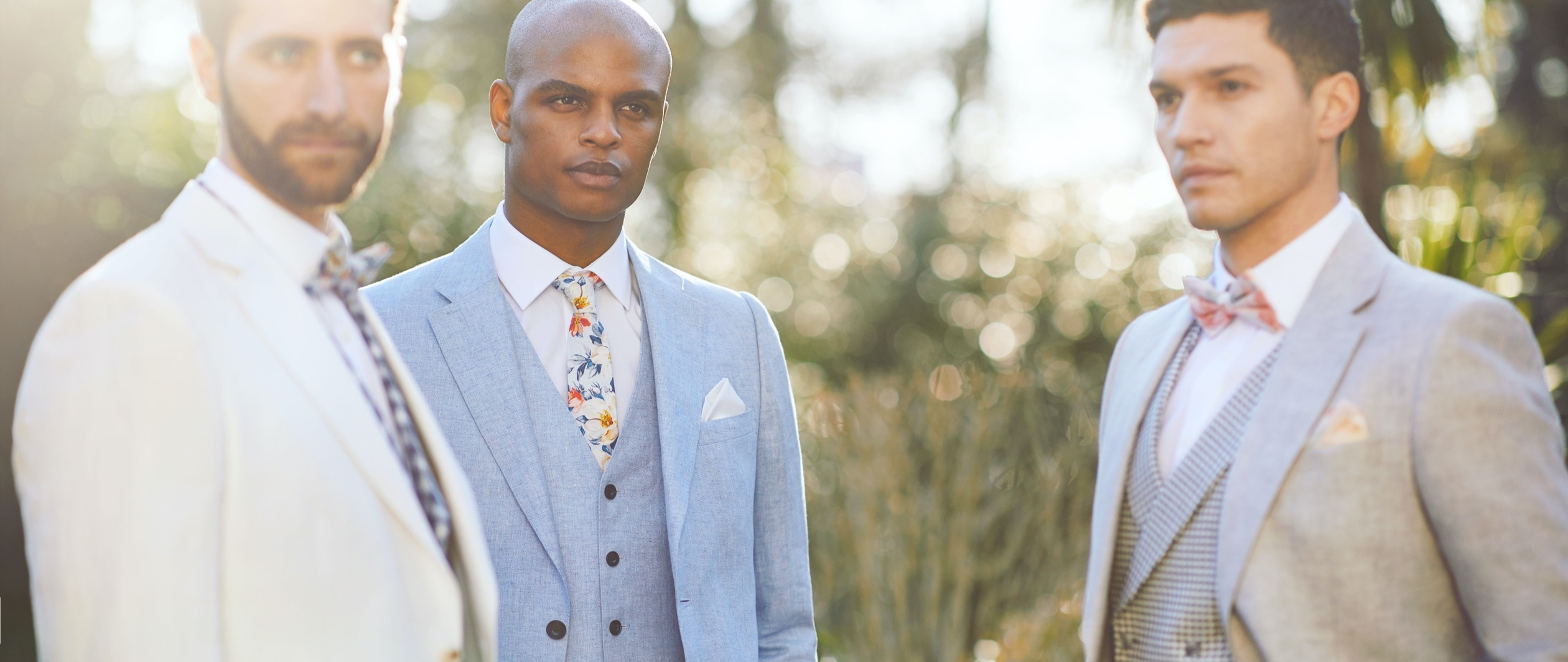 Men in wedding linen suits
