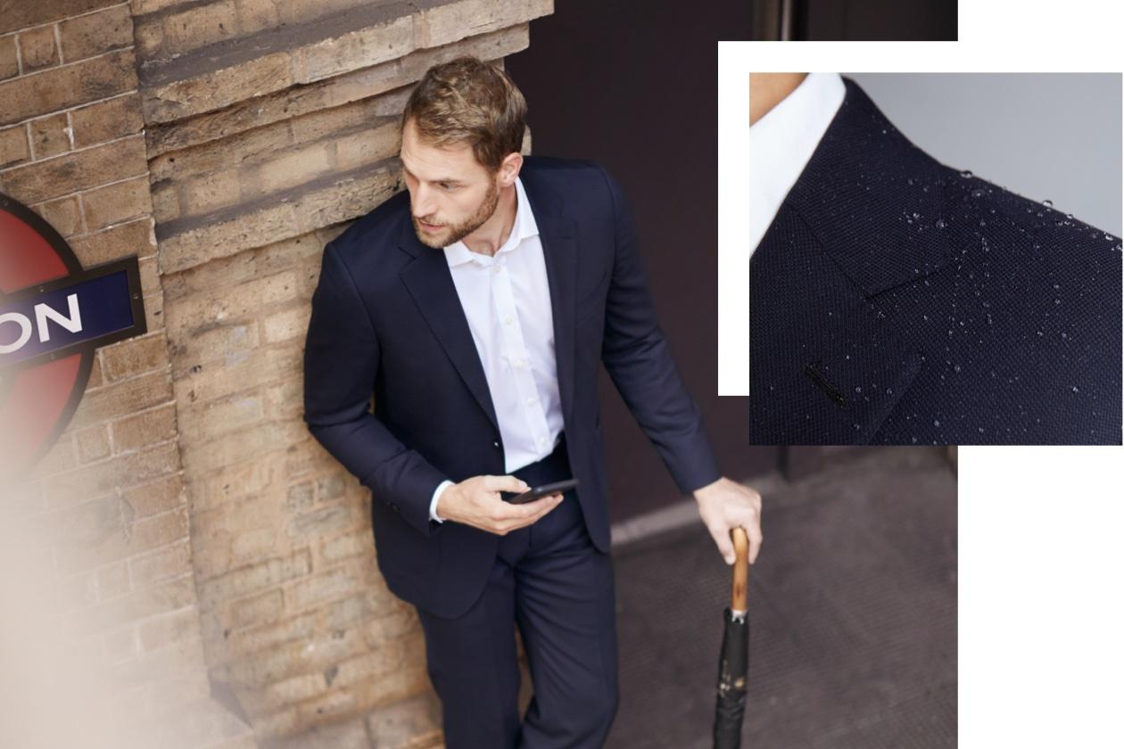 Reiseanzug - typisch britischer Travel Suit - bügelfrei, knitterresistent und wasser abweisend von Hawes & Curtis.