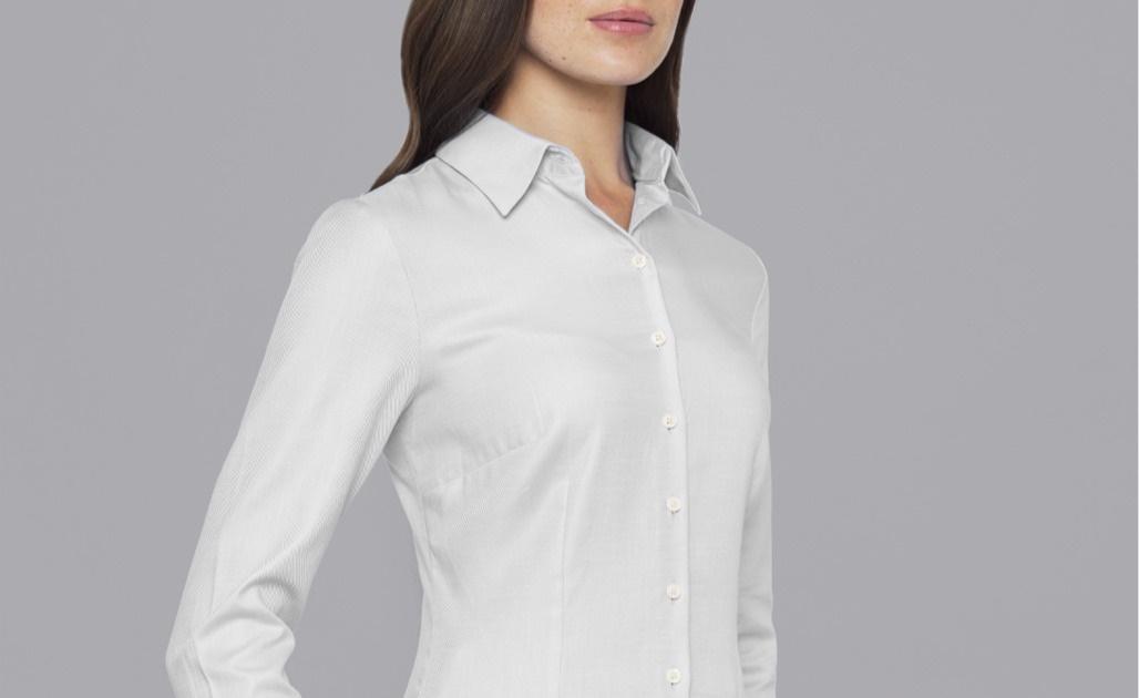 Slim Fit Bluse in Farbe Weiß online bestellen von der Marke Hawes & Curtis.