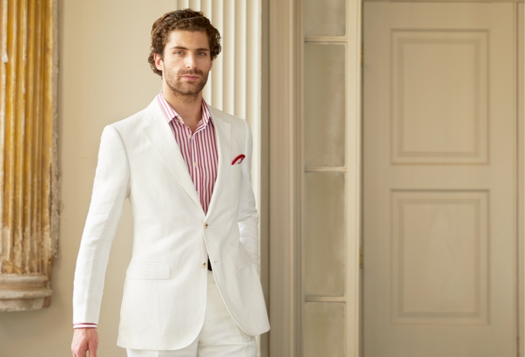 Men's Linen White Suits | Hawes and Curtis