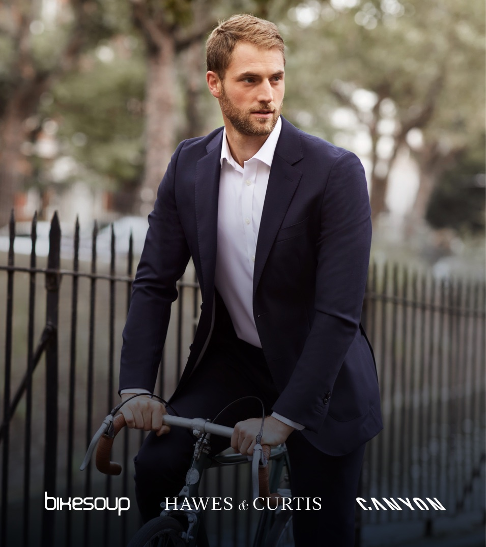 Men's Travel Suits on a Canyon Bike | Hawes & Curtis