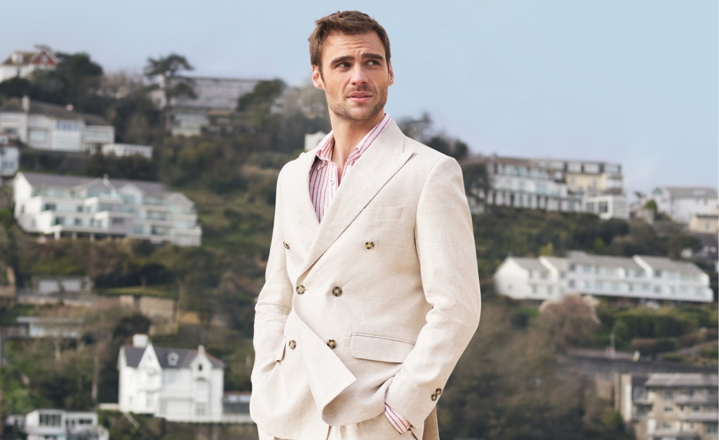 Men's Linen Double Breasted Suits | Hawes and Curtis