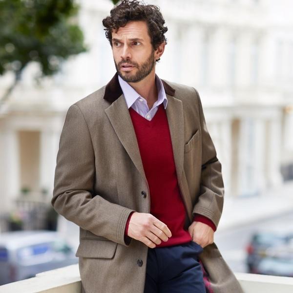 Covert Coat - britischer Mantel Klassiker mit Samtkragen | Hawes & Curtis