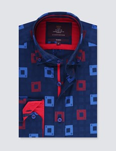 Men's Curtis Navy & Red Squares Relaxed Slim Fit Shirt – Button Down Collar