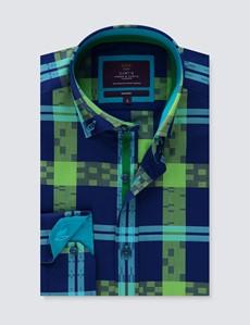 Casualhemd – Relaxed Slim Fit – Button-Down Kragen – navy-grün Jacquard Karo