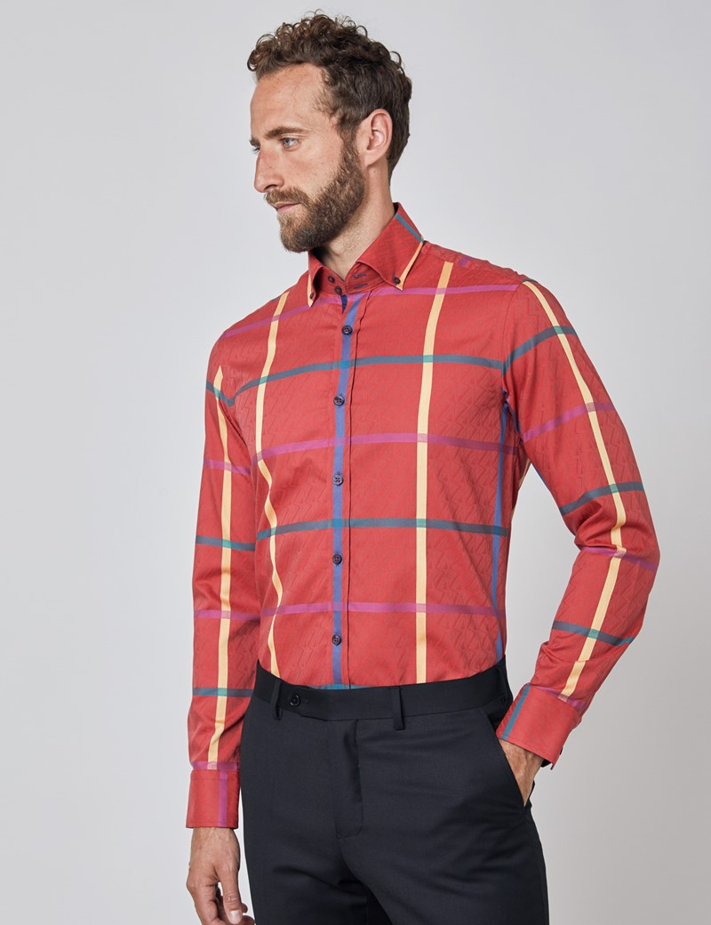 Men's Curtis Red & Blue Large Jacquard Check Relaxed Slim Fit Shirt – Button Down Collar