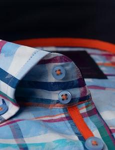 Men's Curtis Blue & Orange Jacquard Multi Check Relaxed Slim Fit Shirt – Button Down Collar