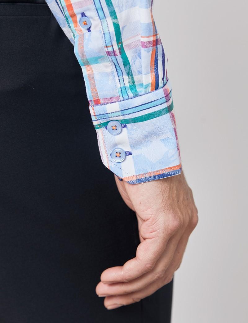 Casualhemd – Relaxed Slim Fit – Button-Down Kragen – hellblau-rot Karo