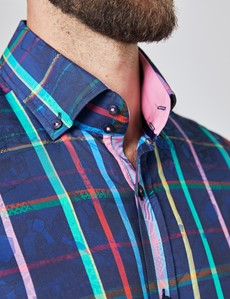 Men's Curtis Navy & Pink Jacquard Multi Check Relaxed Slim Fit Shirt – Button Down Collar