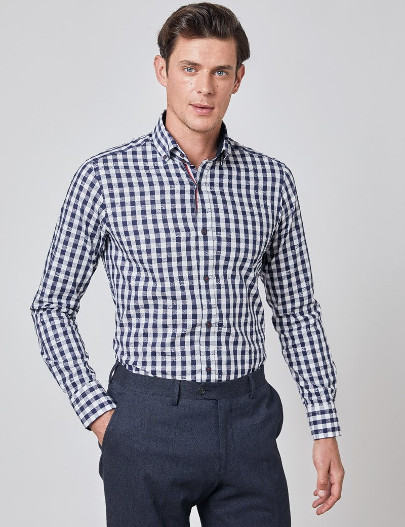 Men's Curtis Navy & White Jacquard Gingham Check Relaxed Slim Fit Shirt – Button Down Collar
