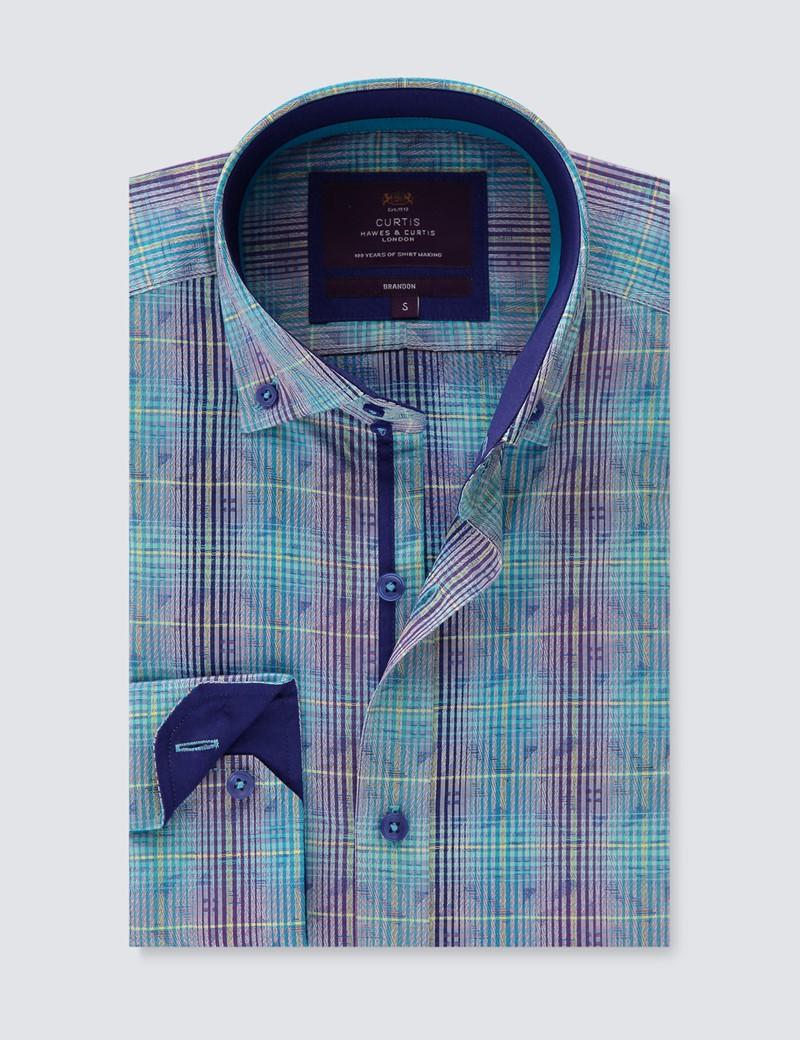 Men's Curtis Blue & Purple Jacquard Check Relaxed Slim Fit Shirt – Button Down Collar