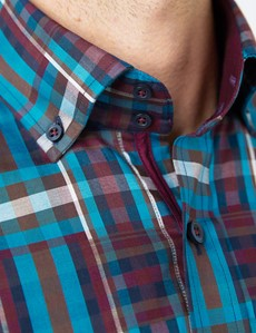 Men's Curtis Blue & Pink Brandon Check Relaxed Slim Fit Shirt – Button Down Collar