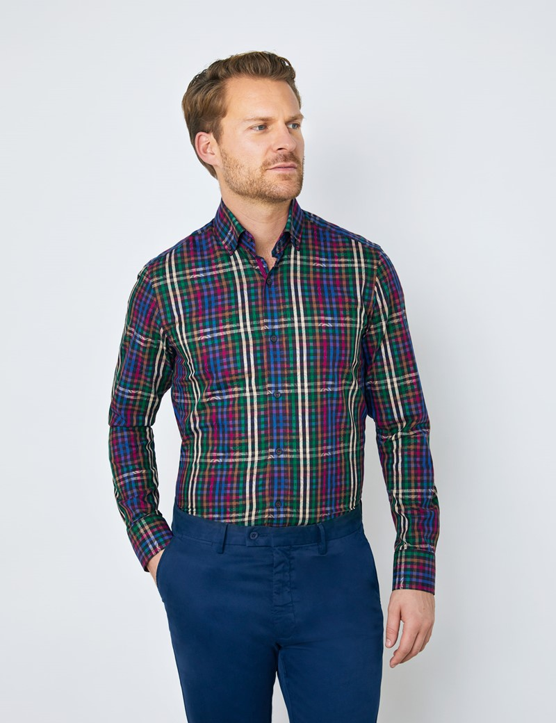 Men's Curtis Blue & Green Brandon Multi Check Relaxed Slim Fit Shirt – Button Down Collar
