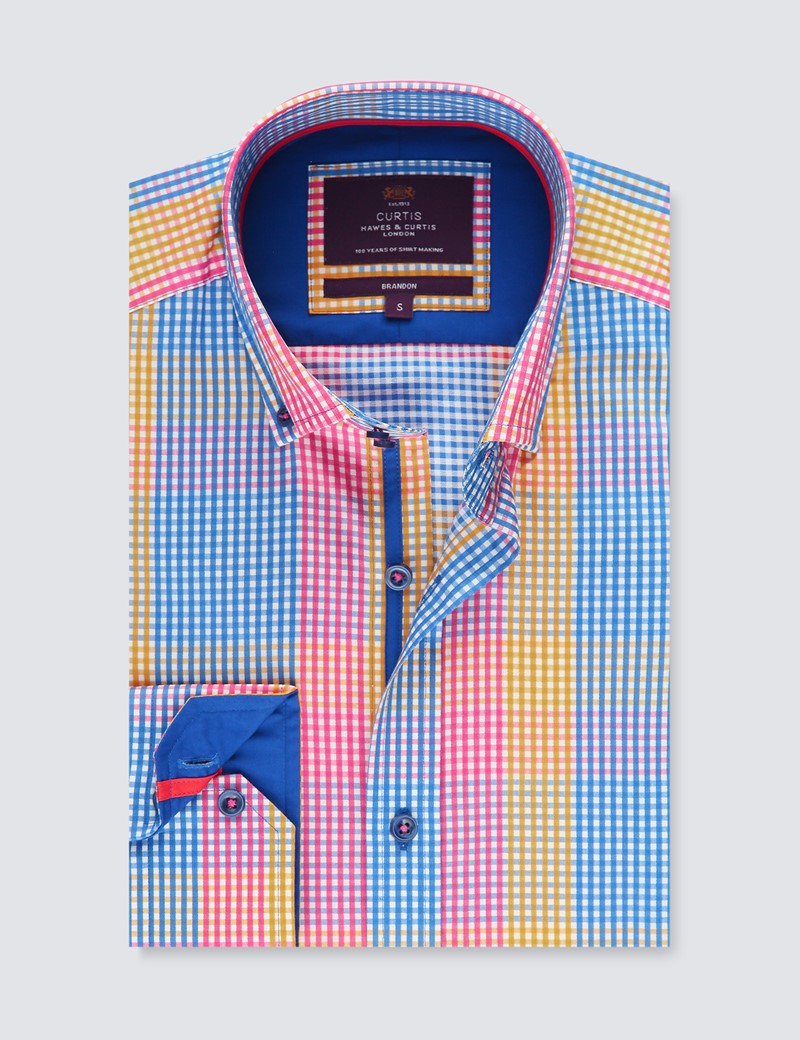 Men's Curtis Yellow & Blue Brandon Multi Check Relaxed Slim Fit Shirt - Button Down Collar