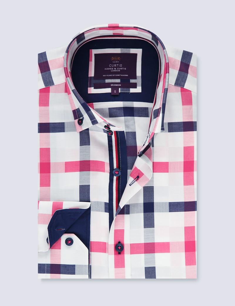 Men's Curtis White & Pink Brandon Checks Relaxed Slim Fit Shirt - Button Down Collar