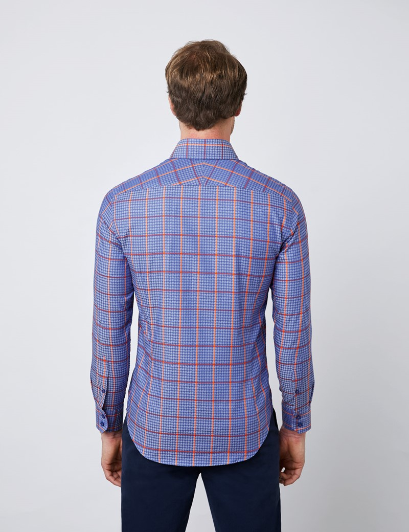 Men's Curtis Blue & Orange Brandon Checks Relaxed Slim Fit Shirt - Button Down Collar