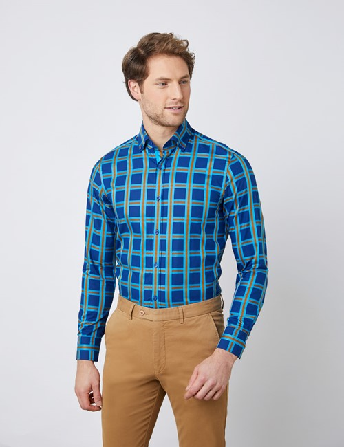 Men/'s Long Sleeve Shirts Slim Fit Checked Collared Button Down Smart Shirts Tops
