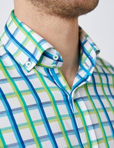 Men's Curtis White & Green Brandon Multi Checked Relaxed Slim Fit Shirt - Button Down Collar