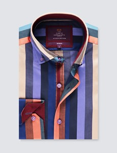 Men's Curtis Brown & Purple Brandon Multi Stripe Relaxed Slim Fit Shirt – Button Down Collar