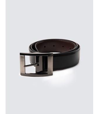 Wendegürtel – Leder – Gebürstete Schließe – Braun & schwarz