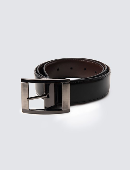 Men's Black & Brown Reversible Leather Belt