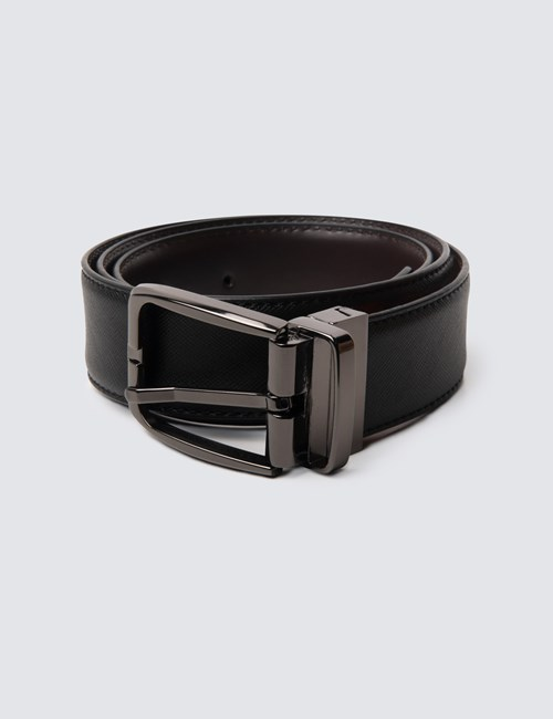 Men's Black & Brown Textured Reversible Leather Belt