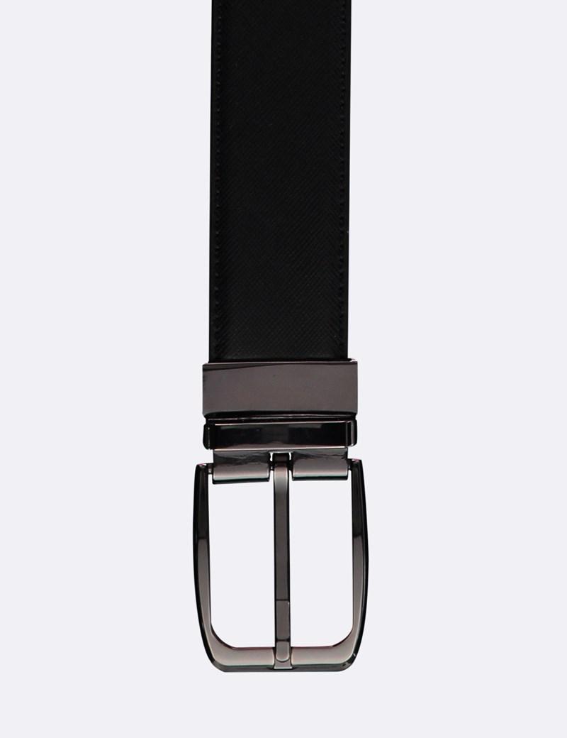 Men's Black & Brown Textured Reversible Leather Belt