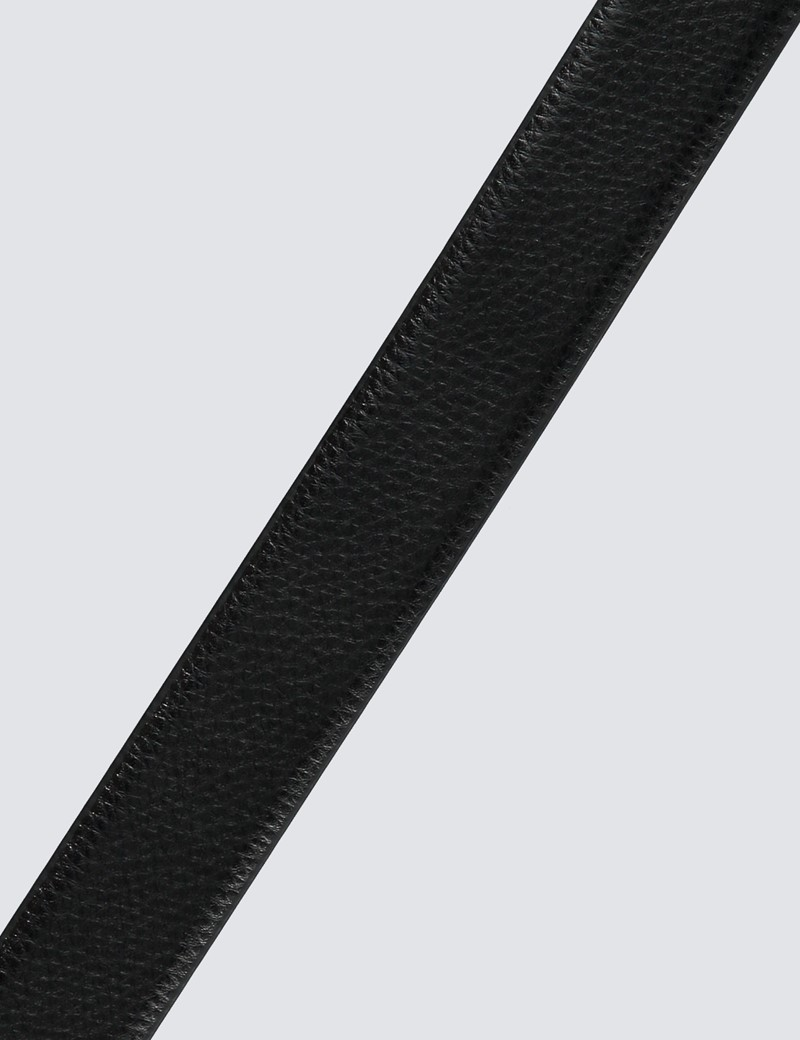 Men's Black Textured Leather Belt