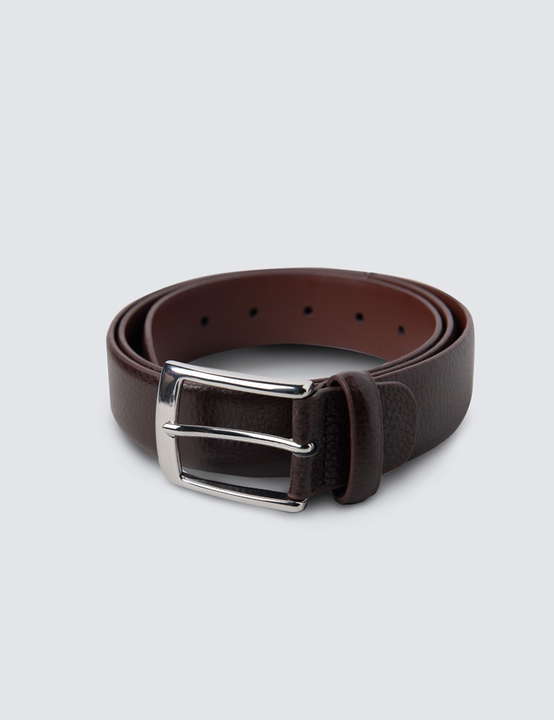 Men's Brown Textured Leather Belt