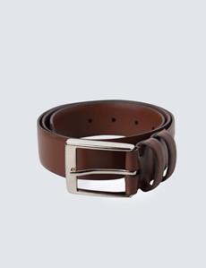 Gürtel – Leder – Silberne Schließe – Braun