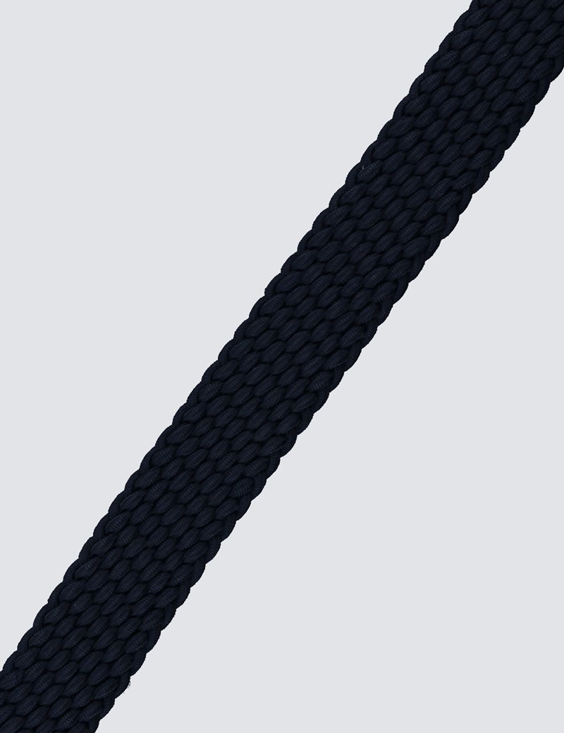 Men's Navy Plaited Stretch Belt