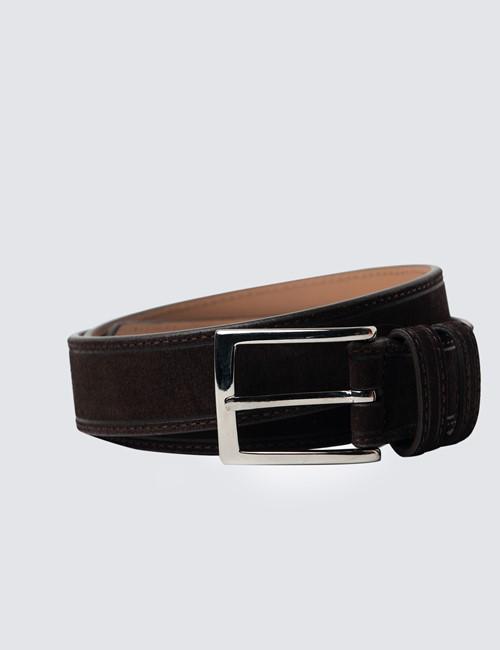 Men's Brown Suede Leather Belt