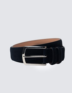 Men's Navy Suede Leather Belt
