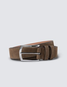 Men's Tan Suede Leather Belt