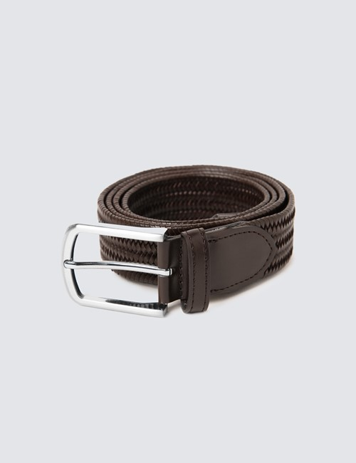 Men's Brown Elastic Stretch Belt
