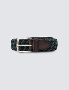 Men's Navy & Green Elastic Stretch Belt