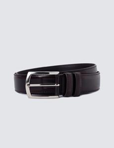 Men's Burgundy Shiny Leather Belt