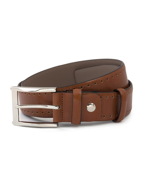 Men's Tan Leather Belt With Edge Punched Out