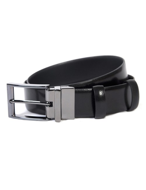 Men's Black Textured Reversible Leather Belt
