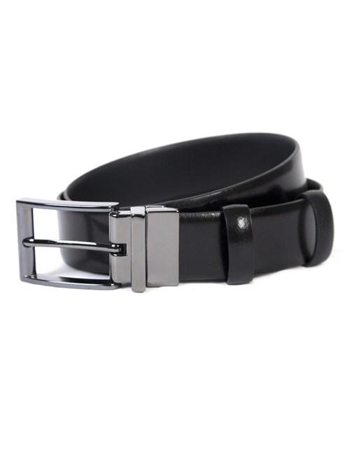 Wendegürtel – 100% Leder – Schwarz glatt & strukturiert