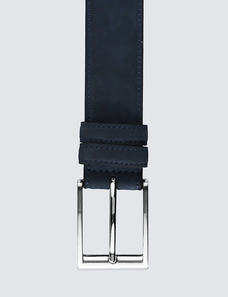 Men's Blue Suede Belt