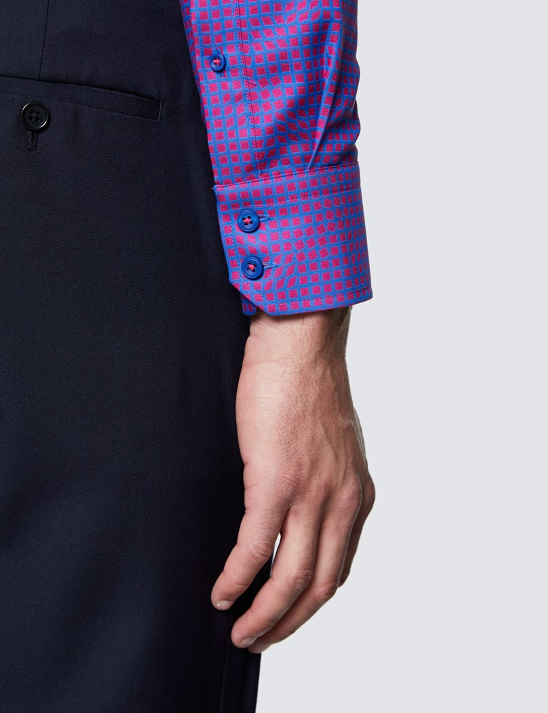 Men's Curtis Blue and Red Small Squares Slim Fit Cotton Shirt - Low Collar