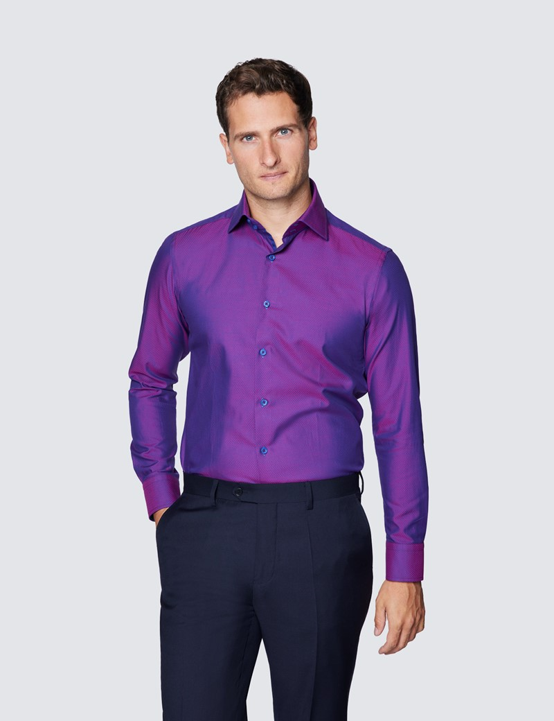 Men's Curtis Fuchsia & Purple Tiny Dobby Spot Relaxed Slim Fit Cotton Shirt - Low Collar