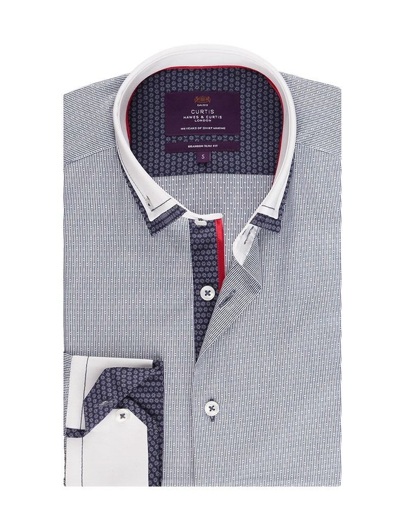 Men's Curtis Navy & White Dobby Slim Fit Smart Casual Shirt - Single Cuff