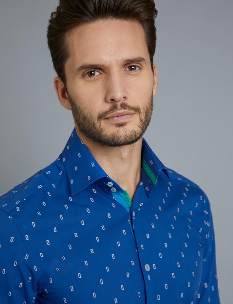 Men's Curtis Blue & White Dobby Slim Fit Shirt - Single Cuff