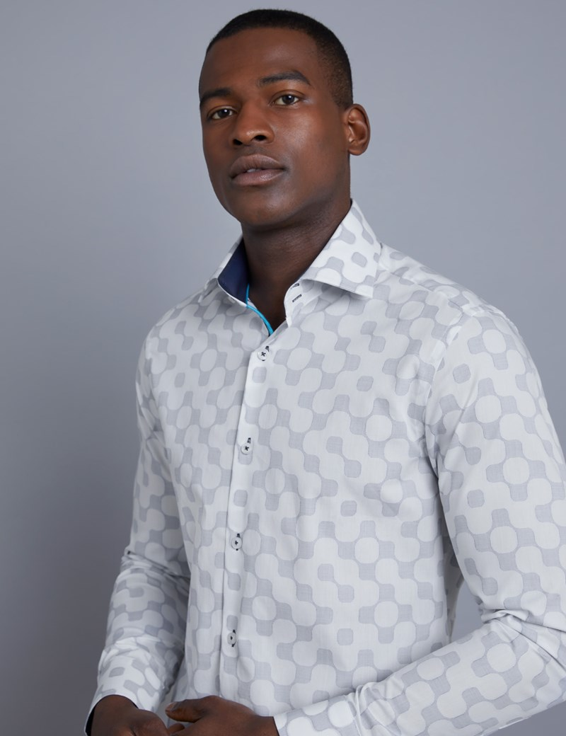 Men's Curtis White & Blue Jacquard Slim Fit Shirt - Single Cuff
