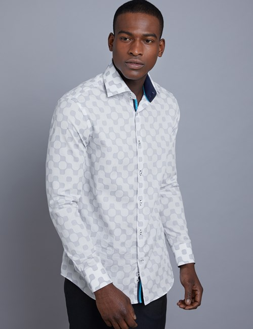 Men's Curtis White & Blue Jacquard Slim Fit Shirt - Single Cuff