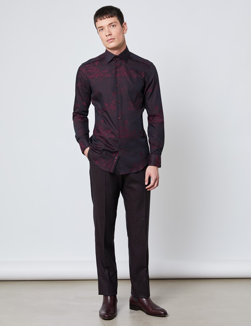 Casualhemd – Slim Fit – Jacquard – Florales Muster schwarz & rot