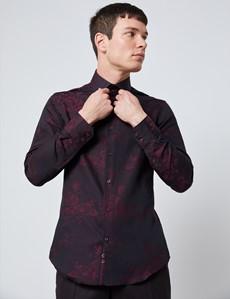 Men's Curtis Black & Burgundy Jacquard Floral Slim Fit Shirt - Single Cuff