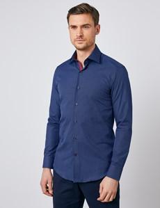 Men's Curtis Navy & White Dobby Check Slim Fit Shirt - Single Cuff